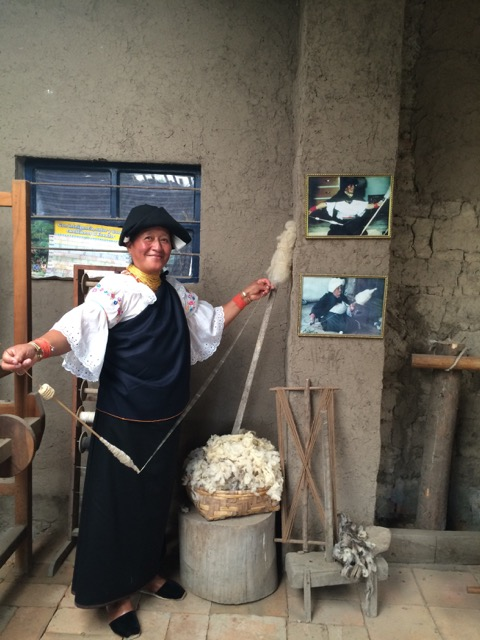 Luz Maria spinning sheep wool as all girls used to do.