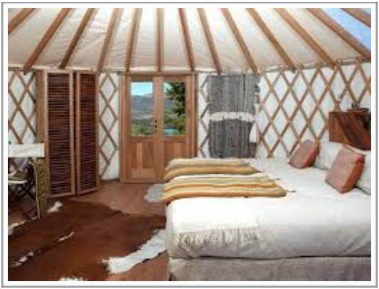 """View of double room in """"urt"""" at PatagoniaCamp"""